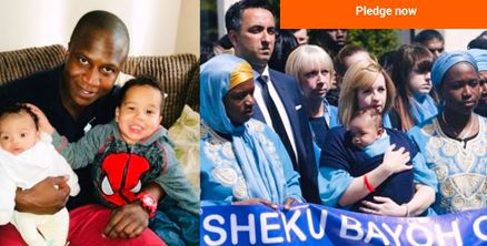 Crowdfunder graphic with pitcure of Sheku Bayoh family